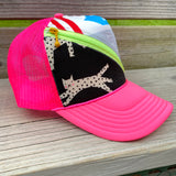 Neon Pink Zip Trucker Hat