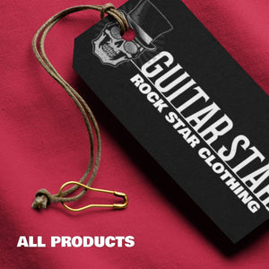 Guitar Star clothes tag on red background