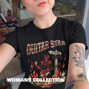 Cool woman wearing guitar star t shirt in urban location