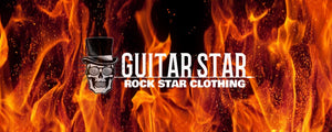 guitar star logo on flame and fire background