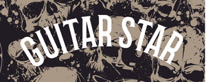Guitar star clothing logo on cool skulls background