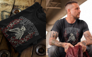 Guitar Star skeleton rose t shirt product shots