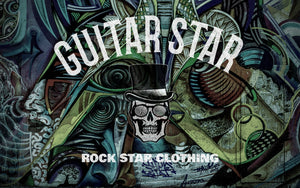 guitar star logo with skull on GRAFFITI background rock star clothing