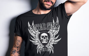 Guitar Star Clothing Skull and Wings blackT-shirt on male model with tatoos