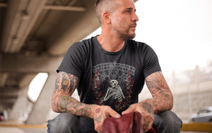 Guitar Star Clothing skeleton rose T-shirt on male model with tatoos and leather jacket