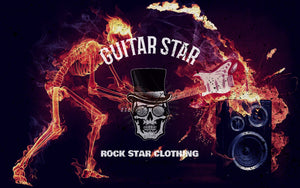 guitar star logo with skull on flame and fire skeleton smashing guitar background rock star clothing rock star clothing