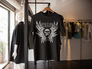 Guitar Star Clothing Skull and Wings T-shirt on hanger in a fashion store