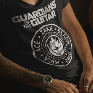 Guardians Of The Guitar T Shirt black on cool model