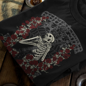 Skeleton Rose T-Shirt black on wood