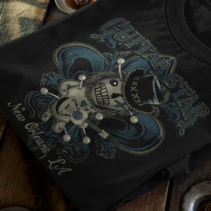 Voodoo Doll T Shirt Black on wood