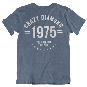 CRAZY DIAMON T SHIRT ON BLUE