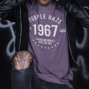 purple haze t shirt on model with tattoo and leather jacket
