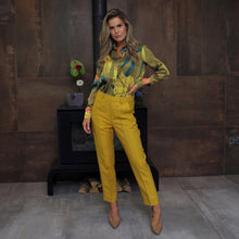 Load image into Gallery viewer, 10 FEET Tailored Pants in Shiny Linen Blend-Ochre-Fi&Co Boutique