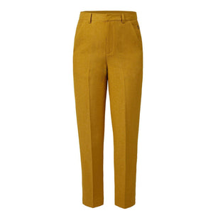 10 FEET Tailored Pants in Shiny Linen Blend-Ochre-Fi&Co Boutique