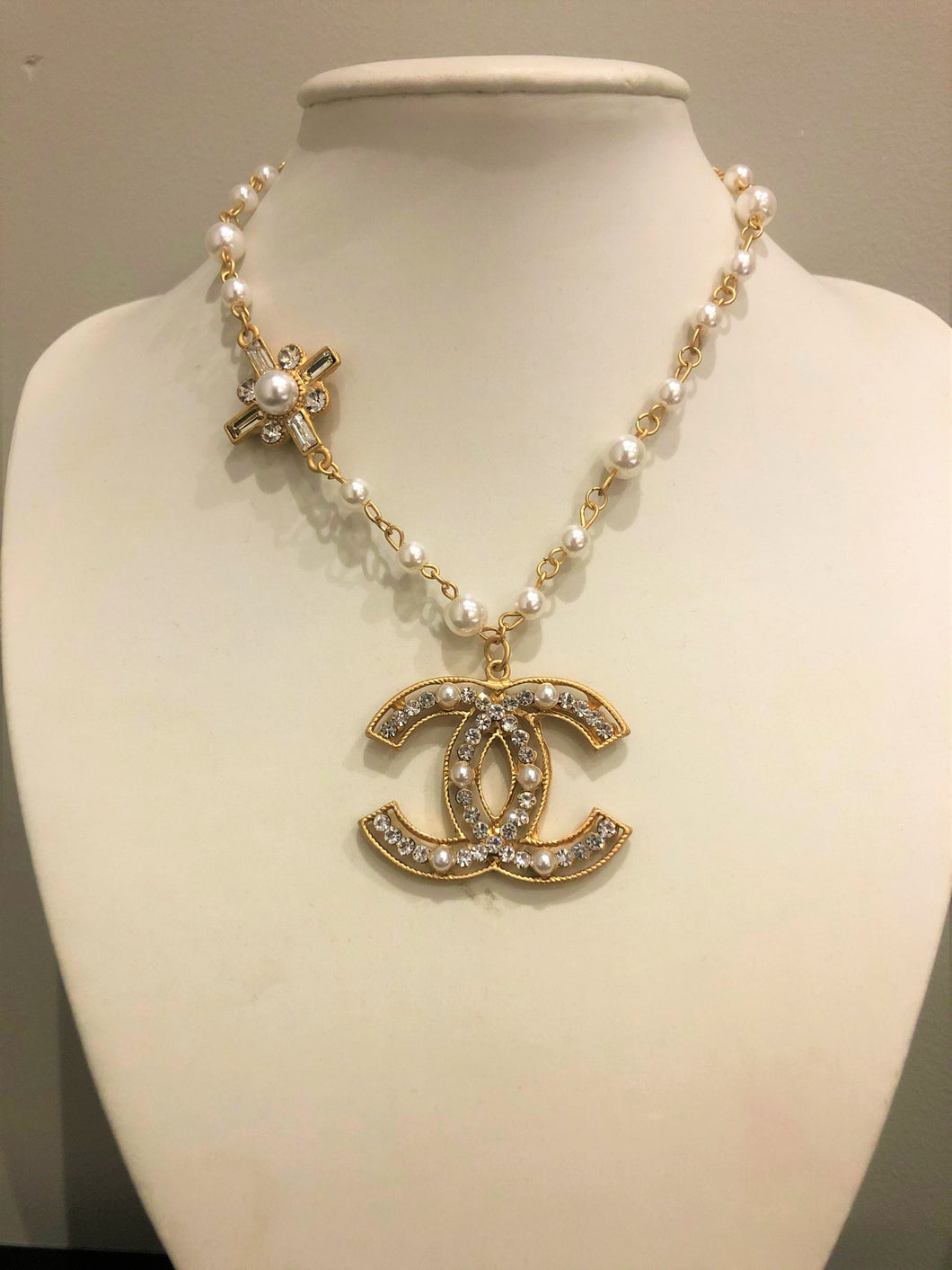 Chanel Gold, Diamante and Pearl Necklace-Fi&Co Boutique