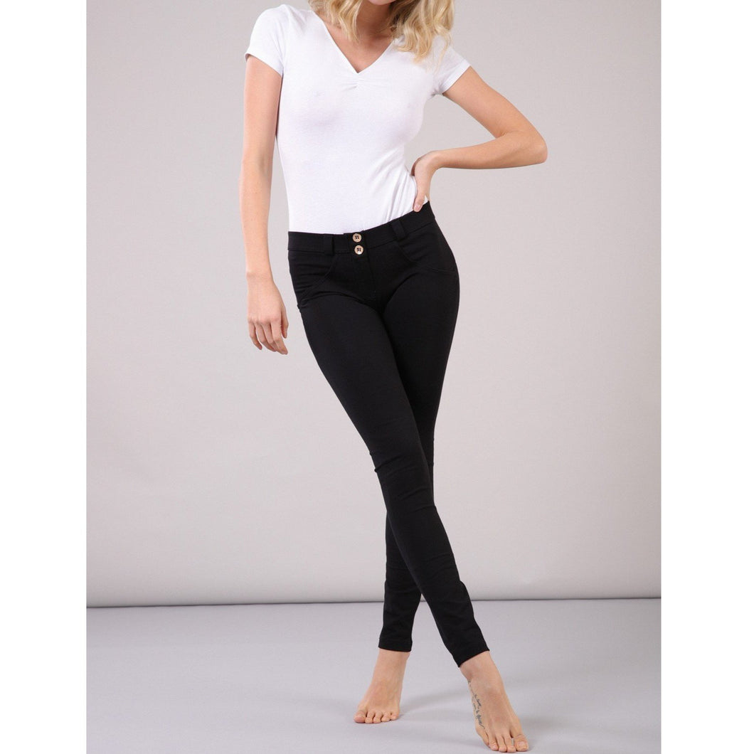Freddy WR.UP® skinny-fit stretch cotton trousers-Black Jersey-Fi&Co Boutique