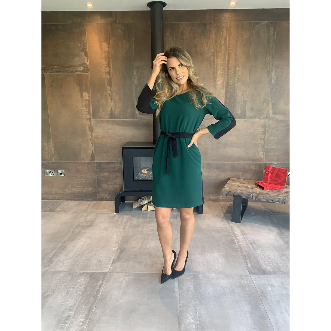 Hanita Green and Black Shift Dress-Green/Black-Fi&Co Boutique