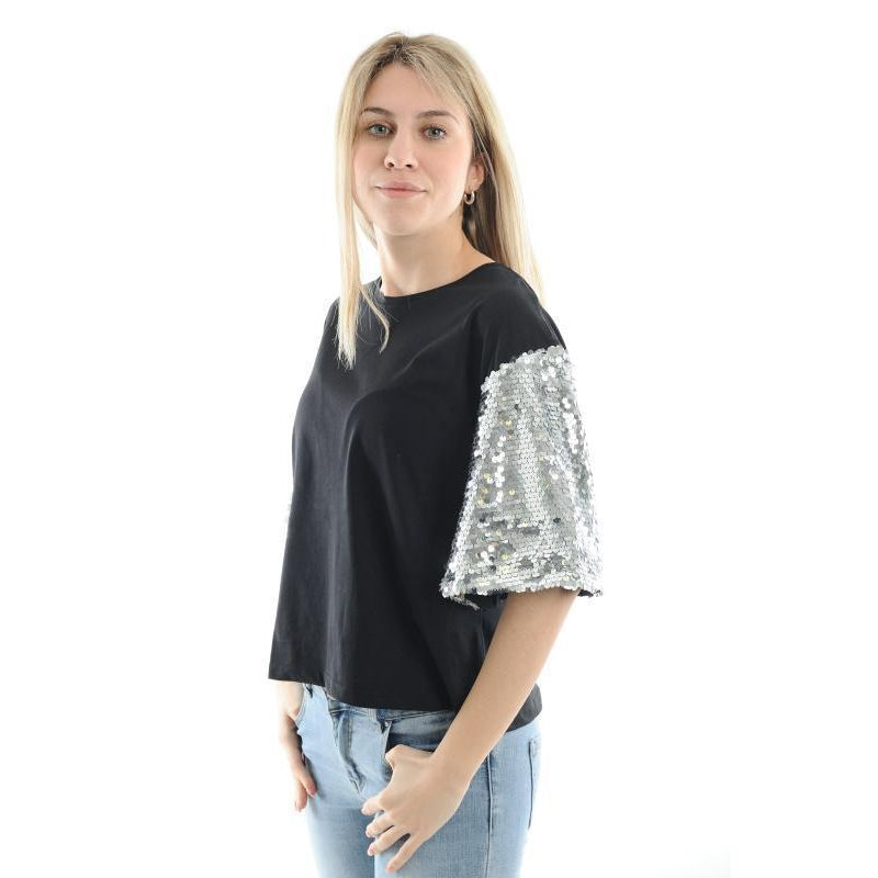 Lokita Milano T-Shirt With Sparkly Sleeves-Black with sparkly white sleeves-Fi&Co Boutique