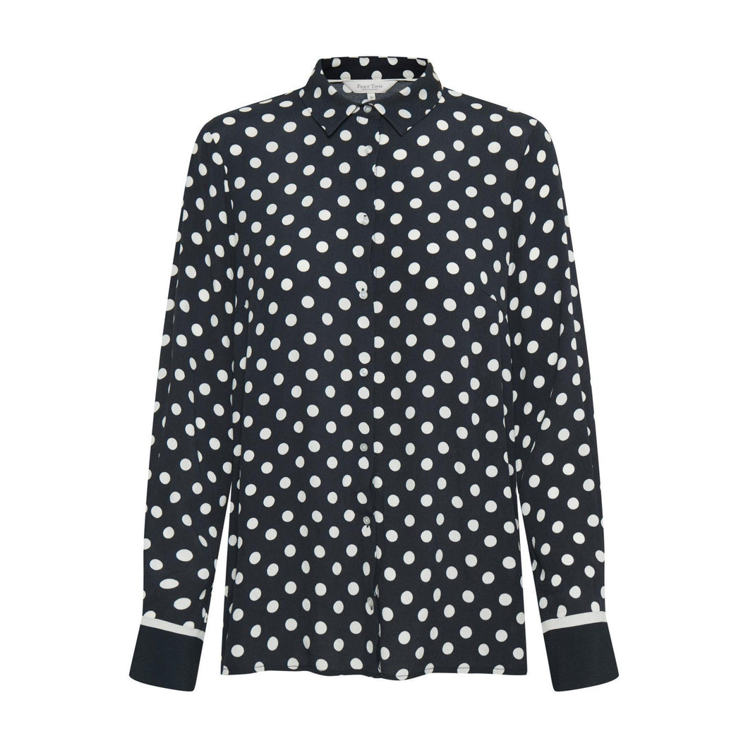 Part Two Birgith Shirt-Dark Navy Dot Print-Fi&Co Boutique
