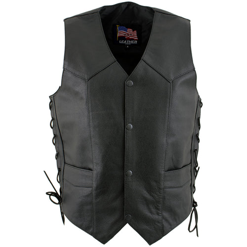 USA Leather 1202 'Laced' Men's Black Leather 4 Button Side Lace Vest