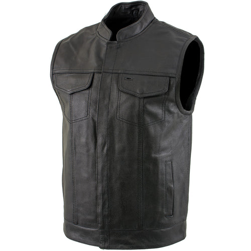 USA Leather 1205 Men's 'Combat' Black Leather Motorcycle Vest