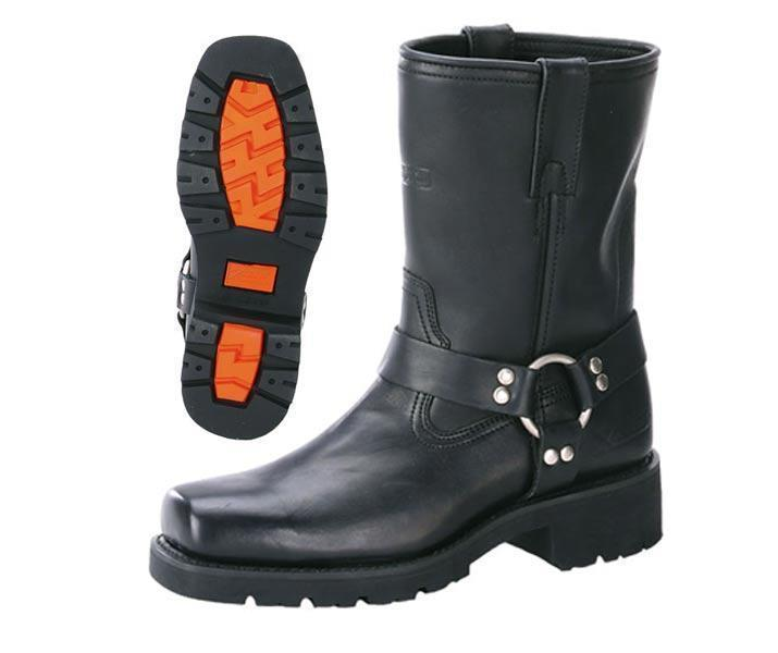 Xelement 1436 Men's Black Short Harness Motorcycle Boots with Lug Sole