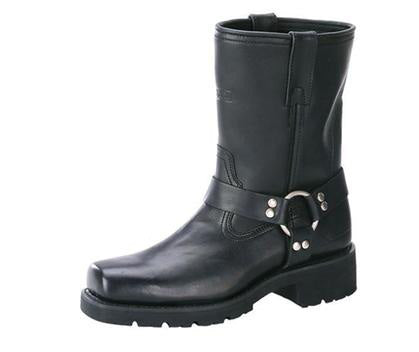 Xelement 1443 Mens Black Harness Motorcycle Biker Boots with Lug Sole 14