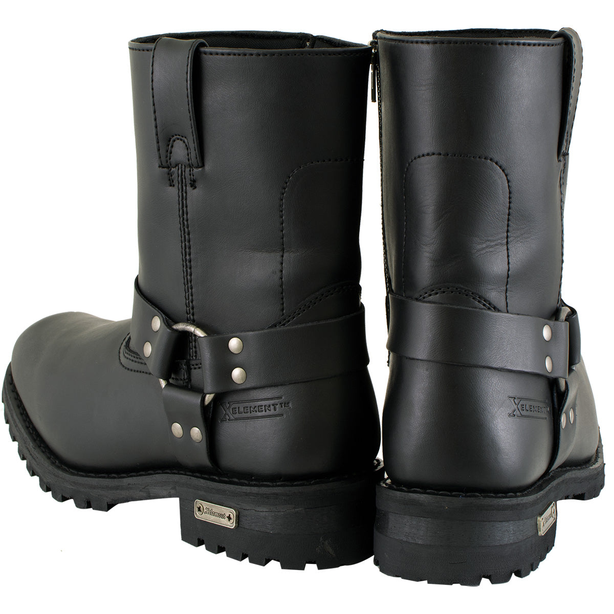 Xelement 1502 Men's Zipper Black Harness Motorcycle Boots