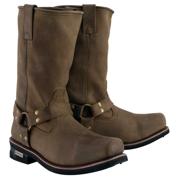 Xelement 1556 'Crazy Horse' Men's Brown Harness Motorcycle Boots
