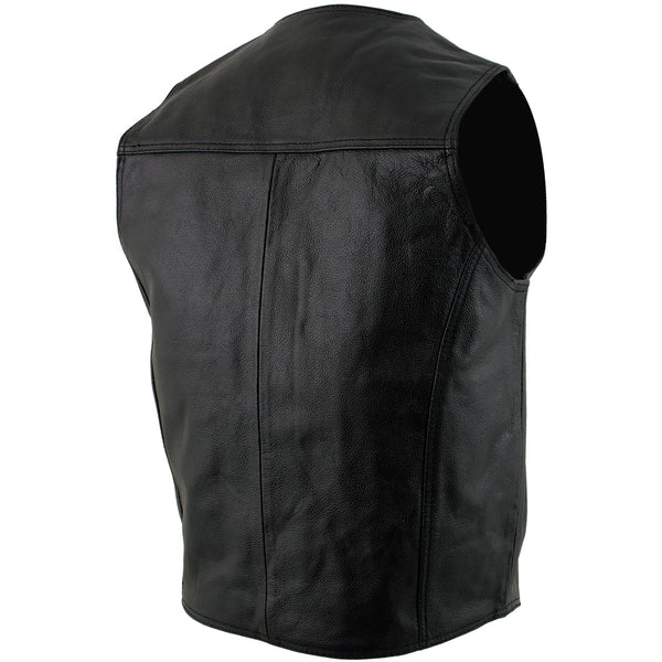 USA Leather 201 Black Classic Leather Vest with Snap Button Closure