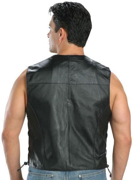 USA Leather Classic Style 201L Men's Leather  Side Lace Vest