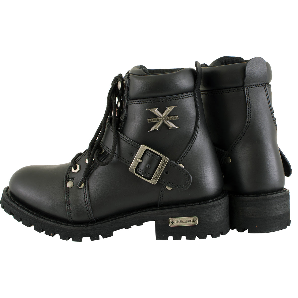 Xelement 2469 Women's Black Advanced Lace Up Motorcycle Biker Boots