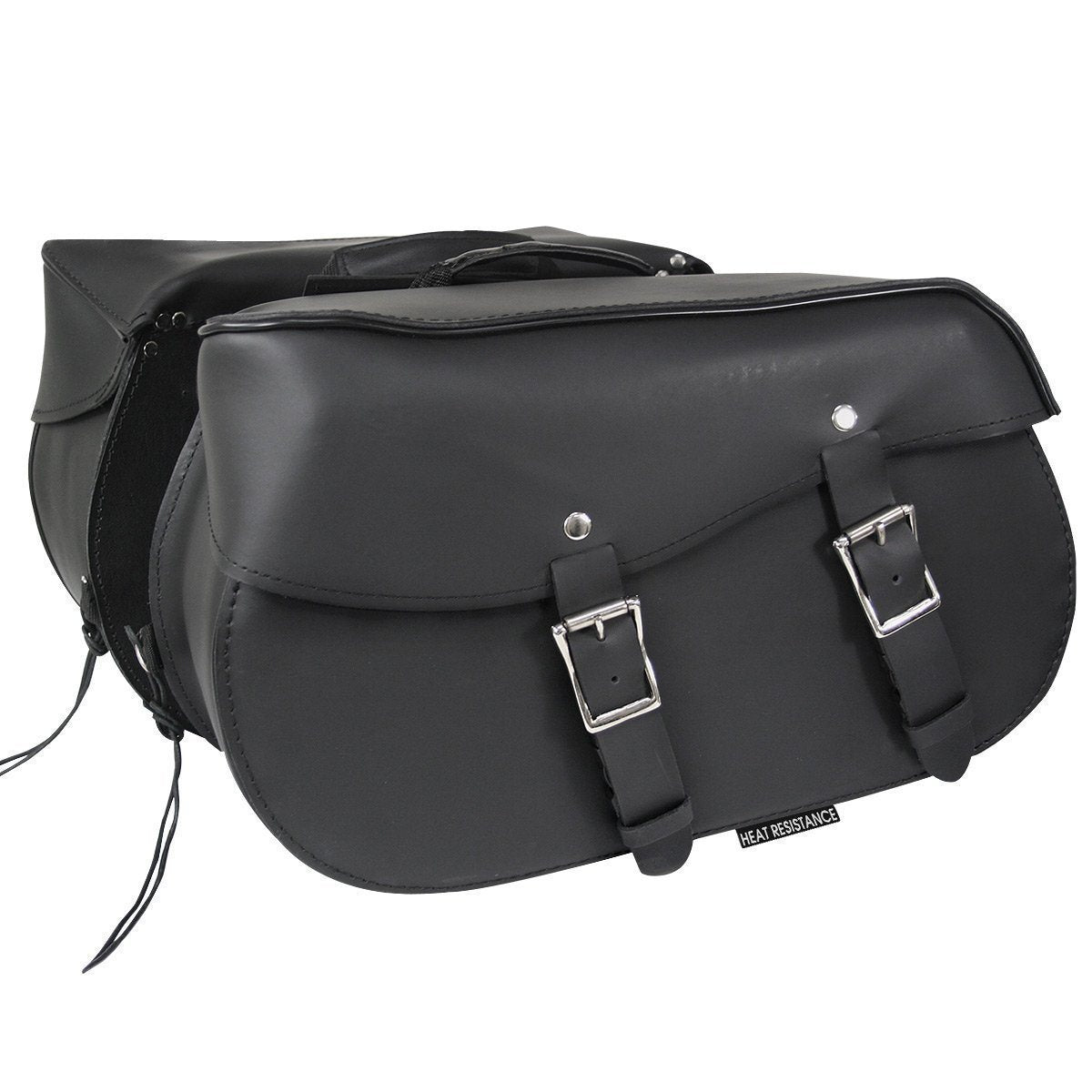 Xelement 2961-ZP Heat-Resistant Leather Motorcycle Saddlebags
