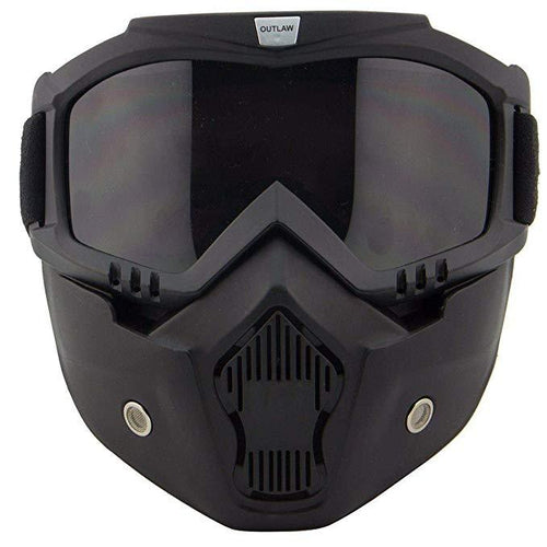 Outlaw 50 'Nemesis' Vintage Face Mask with Detachable Motorcycle Goggles and UV 400 Lens