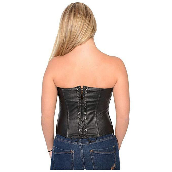 Milwaukee Leather MLL4590 Women's Black Lambskin Leather Zipper Front Corset with Spiked Studs