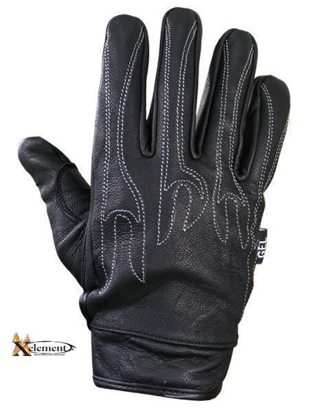 Xelement XG690 Men's Black Leather Naked Motorcycle Gloves
