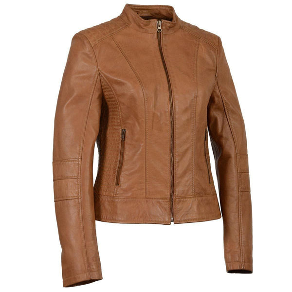 Milwaukee Leather SFL2860 Saddle Women's Zip Front Stand Up Collar Leather Jacket