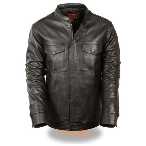 Milwaukee Leather MLM1610 Men's Club Style Black Leather Shirt with Dual Closure and Inside Gun Pocket