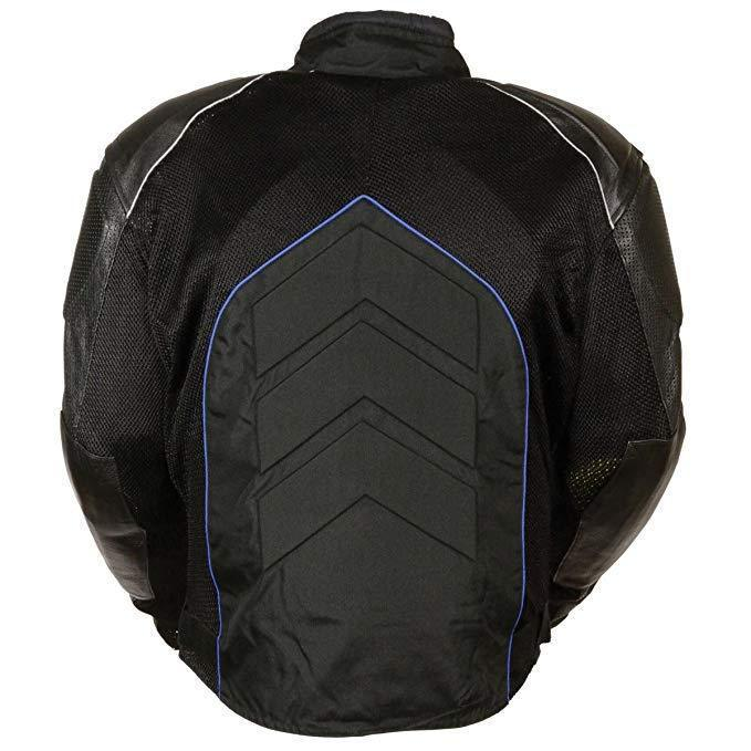NexGen SH2153 Men's Black and Blue Armored Moto Textile and Leather