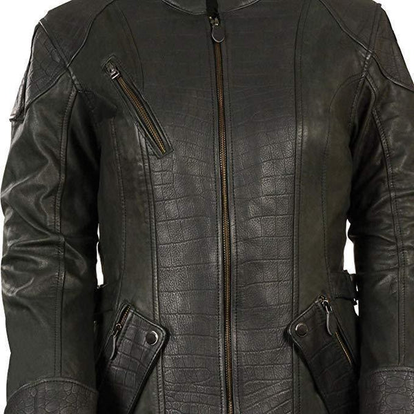 Milwaukee Leather MLL2560 Women's Black 3/4 Length Gator Embossed Leather Jacket with Gun Pockets