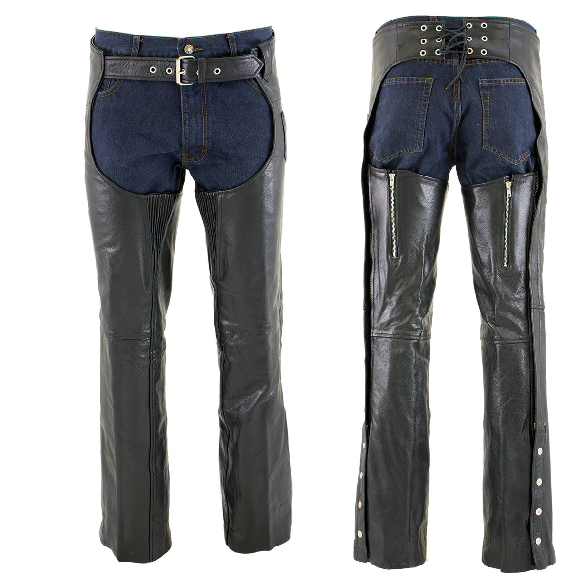 Xelement 7554 Men's Black 'Advanced Dual Comfort' Leather Chaps