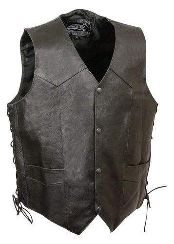 Event Leather ELM3940 Men's 'Eagle Head and Stars' Black Leather Vest with Side Laces