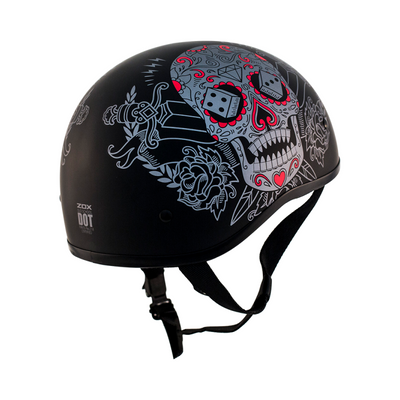 ZOX ST-225A 'Retro Old School' Muerte Matte Grey Motorcycle Half