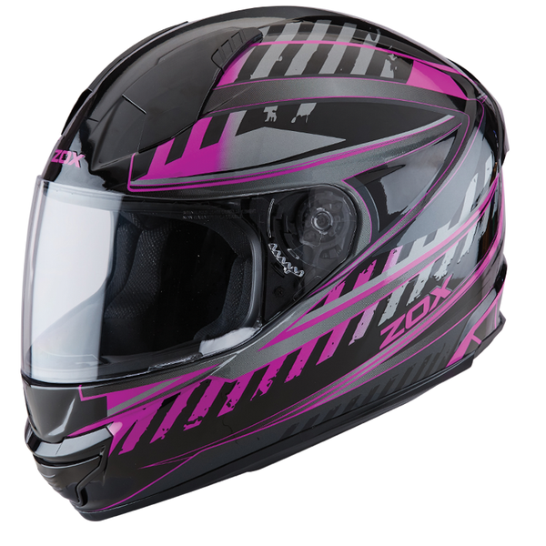 ZOX ST-11118 'Thunder 2' Blade Pink and Black Full-Face Motorcycle Helmet