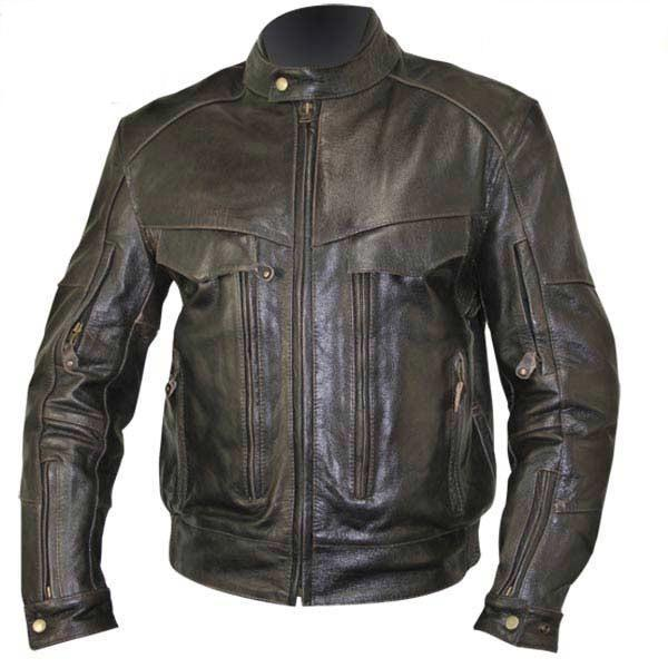 Xelement B7496 'Bandit' Men's Retro Brown Advanced Level-3 Distressed Buffalo Leather Motorcycle Jacket