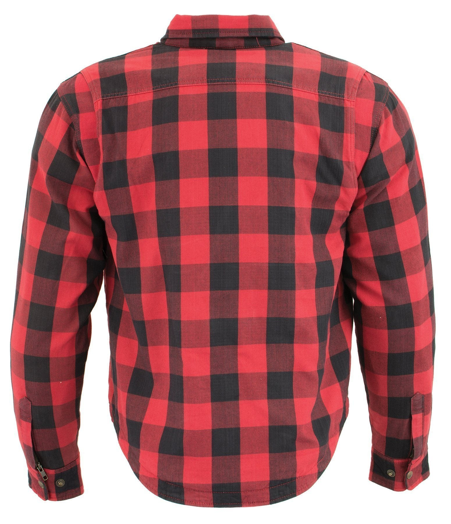 Milwaukee Performance-MPM1631-Men's Black and Red Armored Checkered Flannel Biker Shirt w/ Aramid® by DuPont™ Fibers