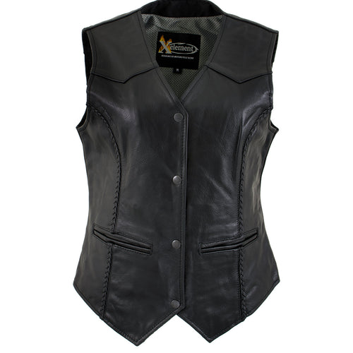 Xelement B206 'Road Queen' Women's Black Leather Braided Vest