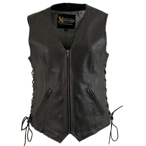 Xelement B277 'Mistress' Ladies Black Leather Side Lace Motorcycle Vest
