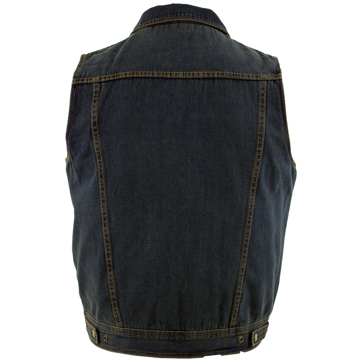 Xelement B284 'Dirty' Men's Dirty Blue Denim Motorcycle Vest
