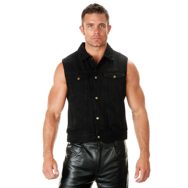 Xelement B285 'Dirty' Men's Black Denim Motorcycle Vest